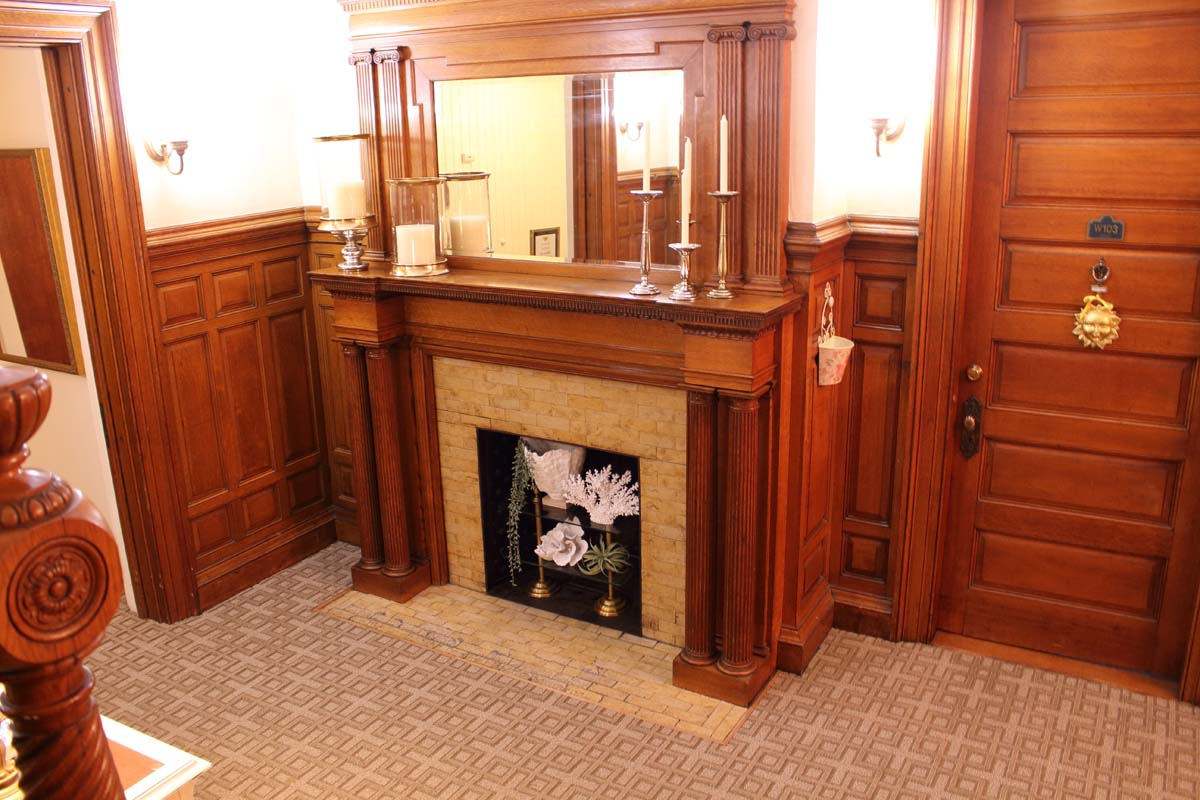 Original woodwork beautifully restored in our main independent and assisted living building.